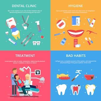 Recepcja dentysty. zestaw ilustracji koncepcji opieki zdrowotnej