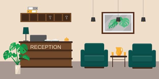 Recepcja hotelu lub biura. wnętrze hali resotowej. ilustracja.