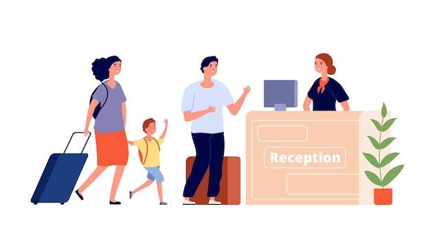 Recepcja. obszar hotelu, podróżująca rodzina i recepcjonista. mężczyzna kobieta gość w holu. zameldowanie, ilustracja usług noclegowych. lobby recepcji rodzinnej, hotel z rezerwacją