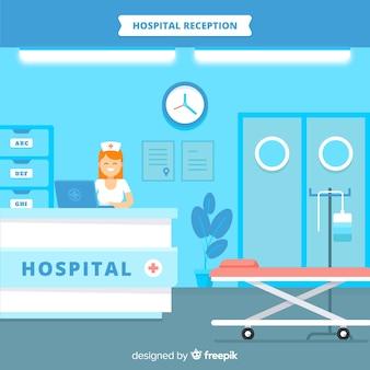 Recepcja szpitala o płaskiej konstrukcji