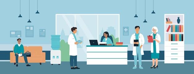Recepcja szpitala z lekarzami i pacjentami