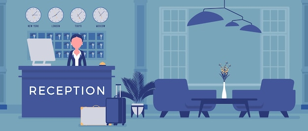 Recepcjonista hotelowy w holu w recepcji. kobieta w recepcji, wita i zajmuje się klientami, zwiedzającymi miasto, wnętrzem, obsługą podróżnych, turystów. ilustracja wektorowa, postacie bez twarzy