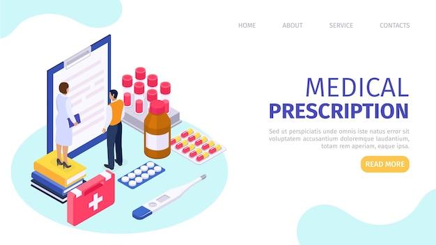 Recepta medyczna na zdrowie ilustracja wektorowa opieka zdrowotna online człowiek pacjent charakter stoisko ne...