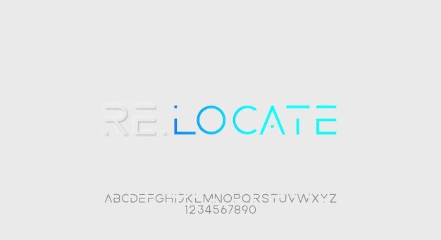Recolate, futurystyczna czcionka alfabetu abstrakcyjnej technologii. krój pisma w przestrzeni cyfrowej