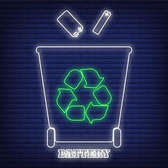 Recykling baterii odpadów sortowanie pojemnik ikona blask neon stylu, ochrona środowiska etykieta płaski wektor ilustracja, na czarnym tle. kosz na śmieci z zielonym symbolem eko.