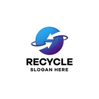 Recykling gradient logo szablon