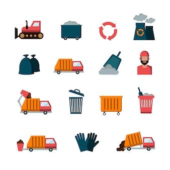 Recykling i odpadów płaskie wektorowe ikony