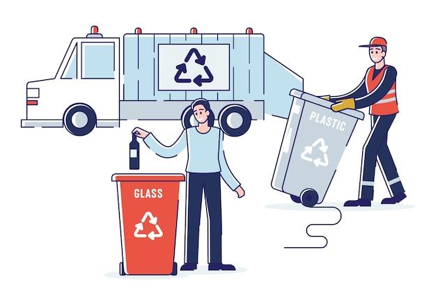 Recykling i zero odpadów concept.woman sortuje śmieci, wyrzucając butelkę do kosza. śmieciarka ładująca odpady do śmieciarki. kreskówka kontur płaski.