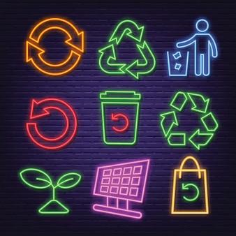 Recykling neonowe ikony