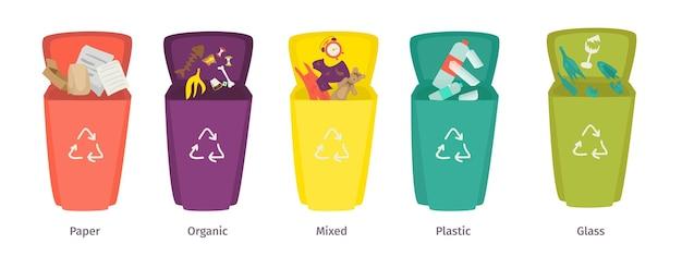 Recykling pojemnik na śmieci wektor ilustracja plastikowe szkło odpady organiczne w koszu na białym tle...