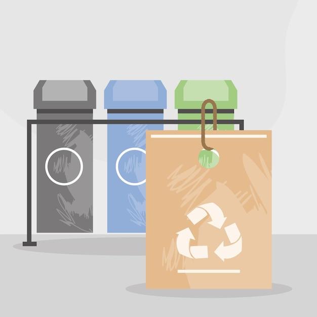 Recykling śmieci i papierowa torba