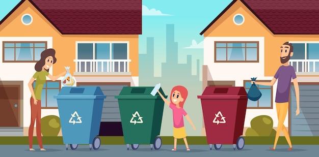 Recykling śmieci. ludzie do segregacji odpadów chronią pojemnik przyrody na tle kreskówki śmieci. ilustracja śmieci i odpadów, śmieci i śmieci