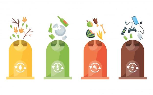 Recykling śmieci. plastikowe pojemniki na śmieci różnych typów. logo koncepcja pojemnika na śmieci. ilustracje w stylu kreskówki