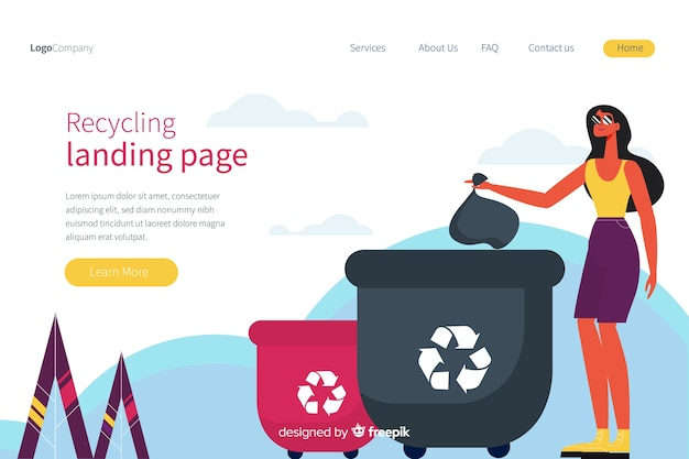 Recykling szablon strony docelowej śmieci