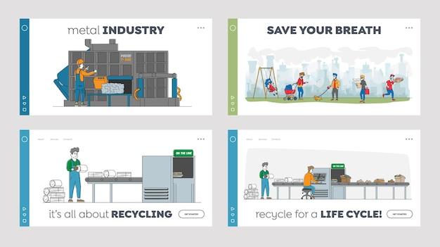 Recykling żelaznych śmieci zestaw szablonów strony docelowej