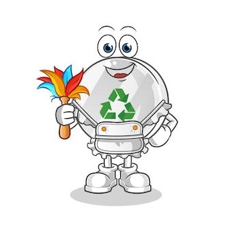 Recykling znak pokojówka maskotka ilustracja