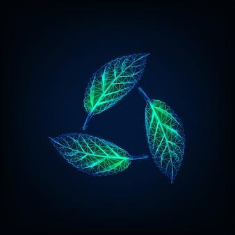 Recykling znak wykonany ze świecących przezroczystych zielonych liści. symbol naturalnych zasobów zrównoważonych.