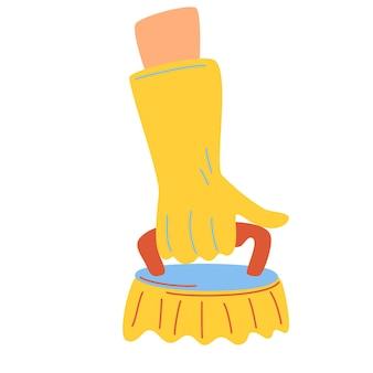Ręczna szczotka do czyszczenia. ludzka ręka w żółtej gumowej rękawiczce z narzędziem do czyszczenia. sprzątanie, prace domowe, higiena prac porządkowych koncepcja kreskówka wektor ilustracja.