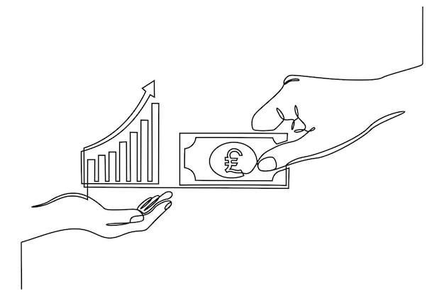 Ręczne ciągłe rysowanie linii z ikoną wykresu transakcji handlu walutami finansowa koncepcja biznesowa