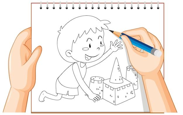 Ręczne pisanie chłopca, budowanie konspektu zamku z piasku