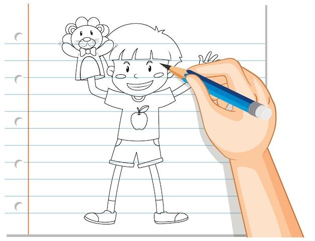 Ręczne pisanie chłopca grającego zarys dłoni lalki