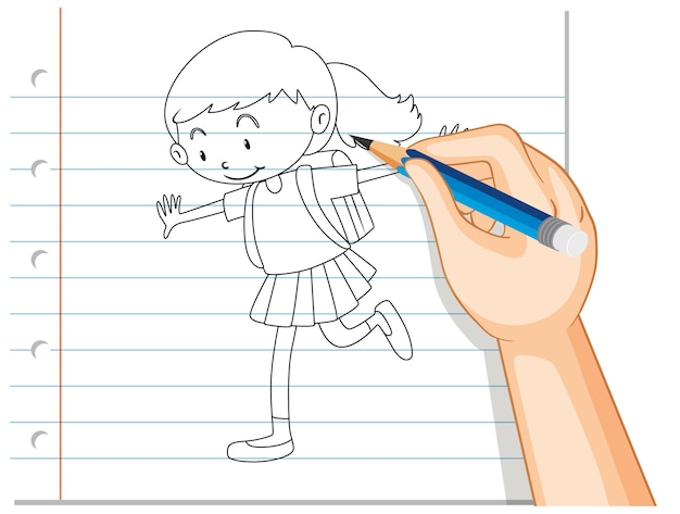 Ręczne pisanie konturu dziewczyny studentów