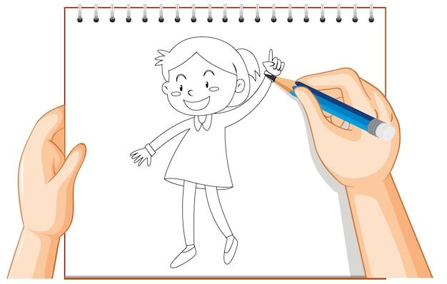 Ręczne pisanie konturu ładna dziewczyna