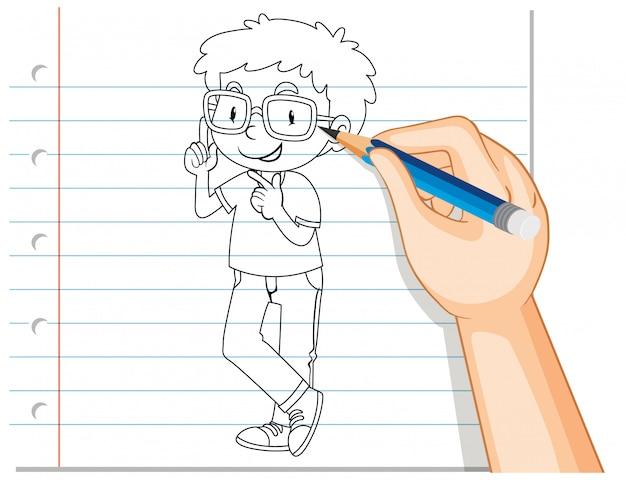 Ręczne pisanie konturu nerdy chłopca