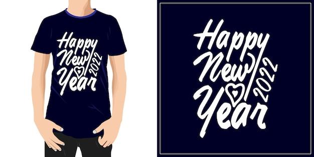 Ręczne rysowanie szczęśliwego nowego roku 2022 projekt gotowy na etykietę z kubkiem na koszulkę lub drukowanie premium wektorów