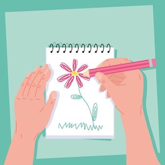 Ręcznie dawing kwiat ręcznie wykonany projekt