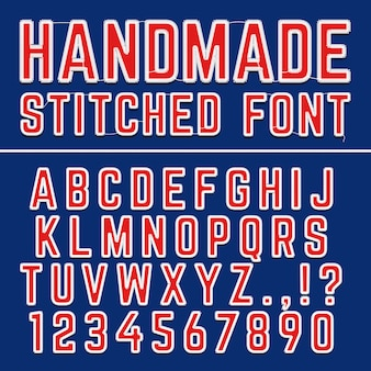 Ręcznie haftowane czcionki czcionek wektorowych. szyte litery do dekoracji tkaniny. litera alfabetu s