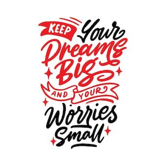 Ręcznie literowanie inspirujące cytaty typografii
