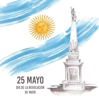 Ręcznie malowana akwarela argentyńska ilustracja dia de la revolucion de mayo