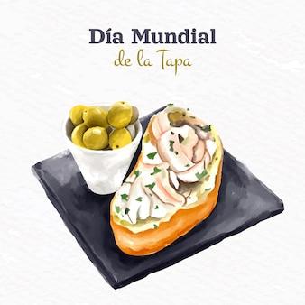 Ręcznie malowana akwarela ilustracja dia mundial de la tapa