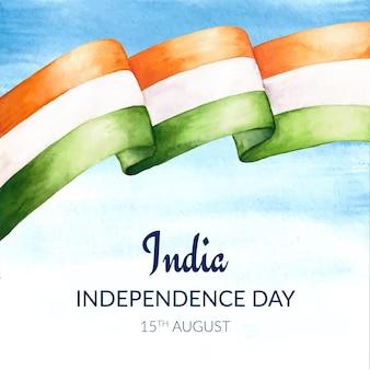 Ręcznie malowana akwarela ilustracja dzień niepodległości indii