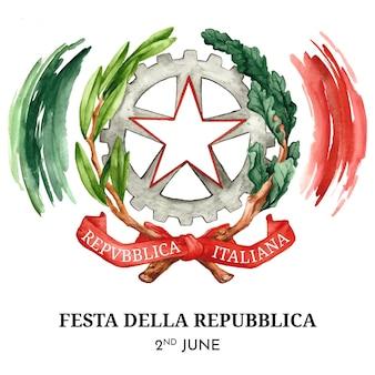 Ręcznie malowana akwarela ilustracja festa della repubblica