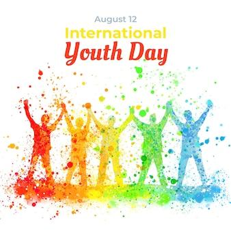 Ręcznie malowana akwarela ilustracja międzynarodowy dzień młodzieży international