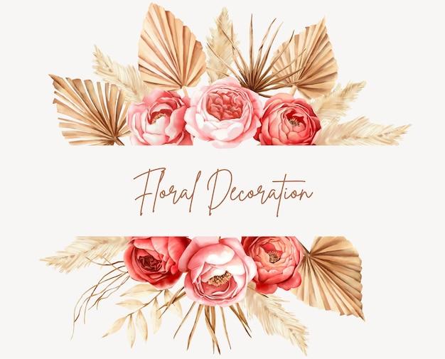 Ręcznie malowana akwarela kwiatowy rama boho