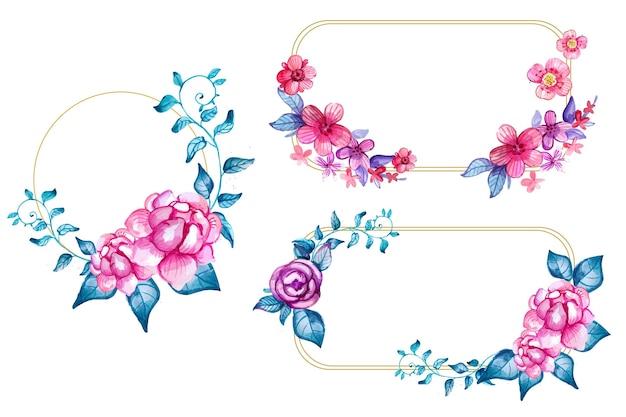 Ręcznie malowana akwarela kwiatowy rama kolekcja