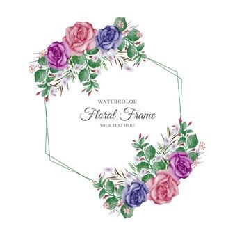 Ręcznie malowana akwarela kwiatowy rama zaproszenie na ślub