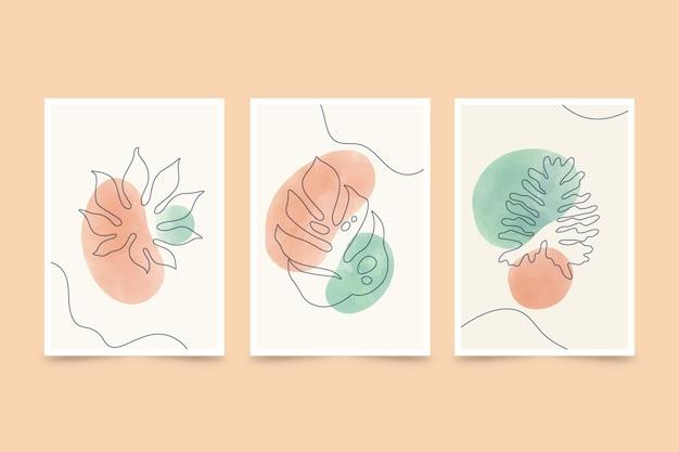 Ręcznie malowana akwarela minimalna ręcznie rysowana kolekcja okładek