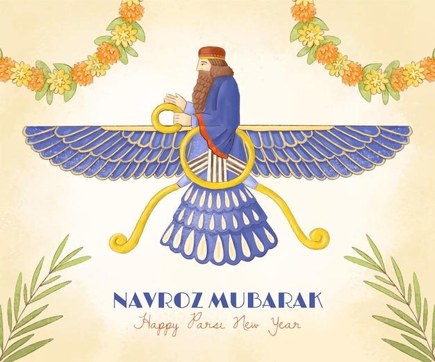 Ręcznie malowana akwarela parsi ilustracja nowego roku