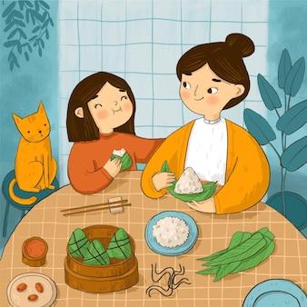 Ręcznie malowana akwarela smoczej rodziny łodzi przygotowujących i jedzących ilustrację zongzi