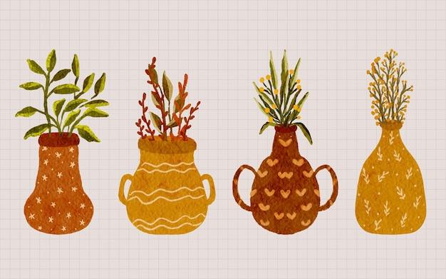Ręcznie malowana akwarela tropikalna jesienna kolekcja roślin doniczkowych ilustracja