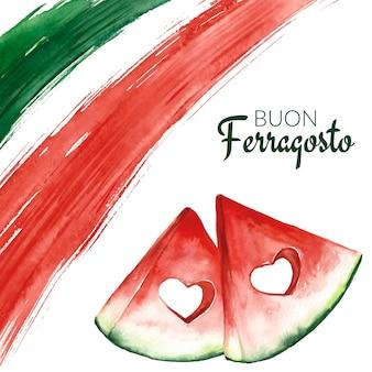 Ręcznie malowana akwarelowa ilustracja buon ferragosto
