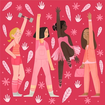 Ręcznie malowana akwarelowa ilustracja dnia równości kobiet