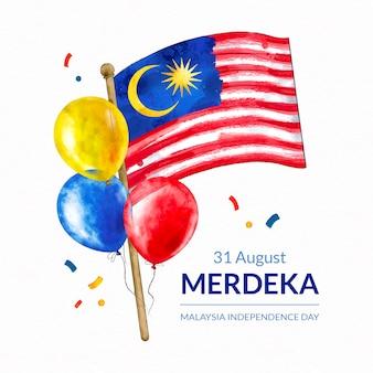 Ręcznie malowana akwarelowa ilustracja hari merdeka