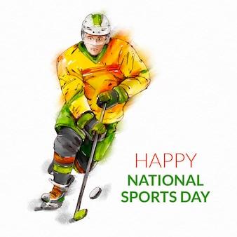 Ręcznie malowana akwarelowa ilustracja indonezyjski dzień sportu narodowego
