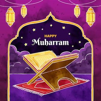 Ręcznie malowana akwarelowa ilustracja islamskiego nowego roku
