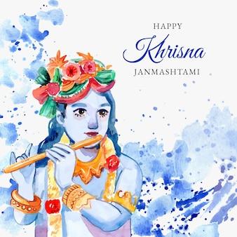 Ręcznie malowana akwarelowa ilustracja krishna janmashtami